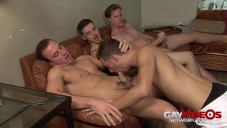 Hunter Van Heise takes turns sucking off 3 guys