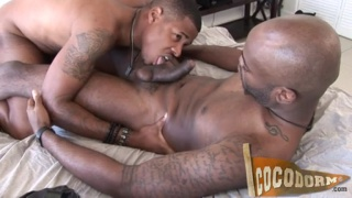 black bottom takes his buddy's big dick