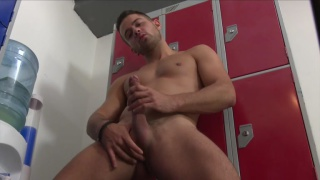 sexy robbie rojo pleasures himself in locker room