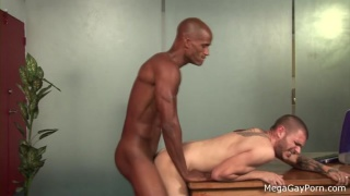 Tattooed white dude taken by big black cock