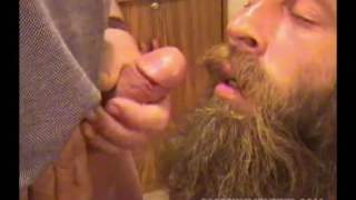 bearded redneck eats cum