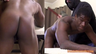 Tom bends Kyle over work table for spanking