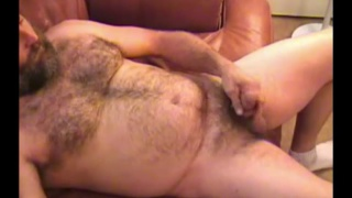 bearded daddy Tim jacks his dick