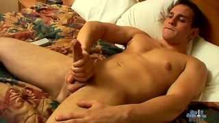 handsome horny jock stroking one out