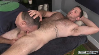 Massaging hairy hunk Blaze