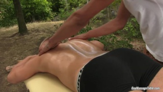 blond hunk gets serviced by his masseur