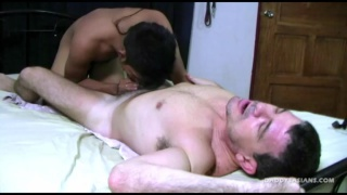 adorable asian lad pleases his daddy