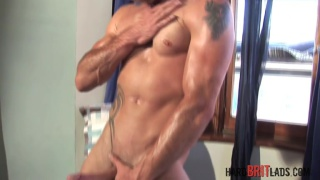welsh hunk Ross jerks his ample dick