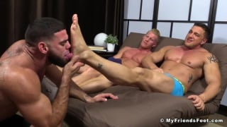 foot slave Ricky Larkin worships Johnny V  and Joey D