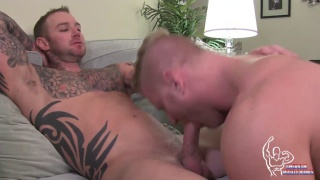 blond muscle bottom gets topped by inked stud