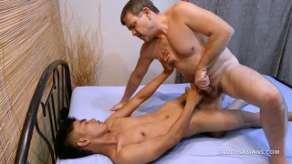 straight asian gets his hole fingered by horny daddy