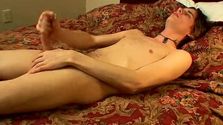 horny slim lad empties his balls in his mouth