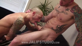 inked hunk dildo fucks a tattooed bottom