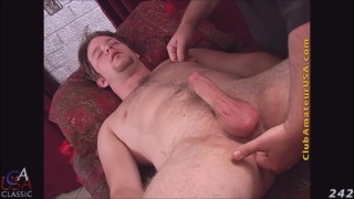 Toby's cock gets hard on massage table