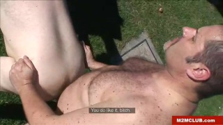 bigger bear fucks ass outdoors
