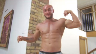 bald muscle hunk lee david beats off
