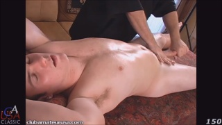 college guy Billy gets serviced on massage table