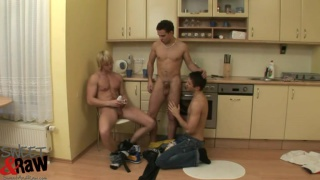 3 horny lads bare fuck on the kitchen floor
