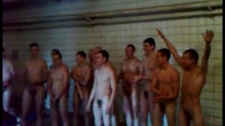 stark naked Eastern European soldiers in communal shower