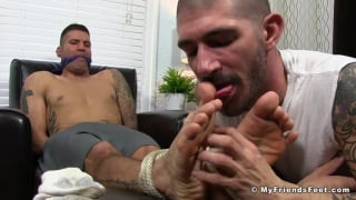 Johnny Hazzard ties up Caleb Troy and licks his feet