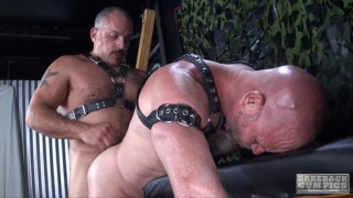 4 hairy men fuck around in dungeon