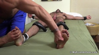 hairy hunk billy santoro gets strapped to bed for tickling