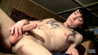 tatted up straight lad beating off