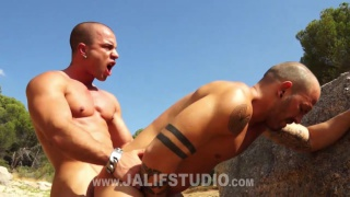 spanish hunks fuck hard against the rocks