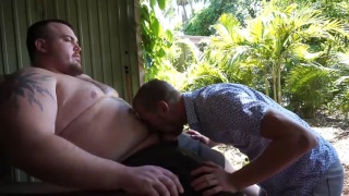 slim guy squirms while getting his hole eaten