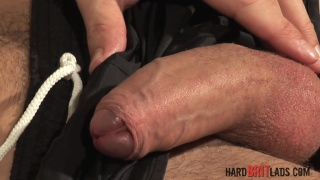 good-looking brit strokes his cock