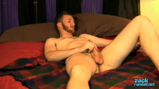 bearded Luke mason strokes his prick