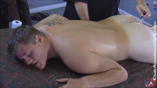 beefy hunk Josh serviced on massage table