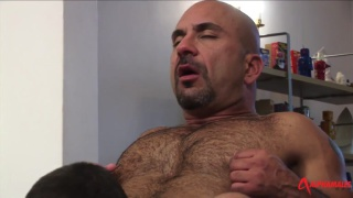 big hair bald top fucks younger guy's ass