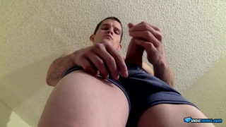 Lex in blue underwear plays with his cock