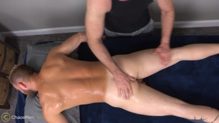 beefy hunk gets serviced on massage table