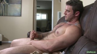 hairy hunk Rocke jacks his fat cock