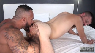 Josh Stone bottoms bareback for Alessio Romero