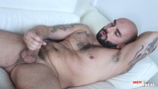 bearded muscle hunk Johnny Venture masturbates