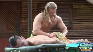 long-haired blond hunk massages and fucks twink