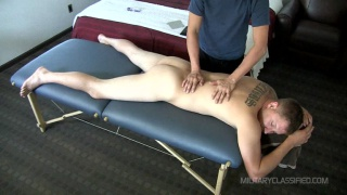 ex-marine Easton get blowjob on massage table