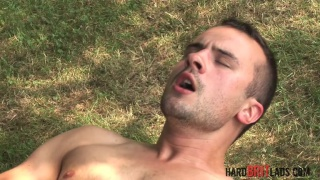 stunning lad jerks his 8-inch uncut dick outdoors