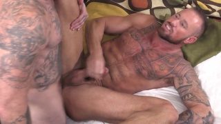bearded inked ink gets bare fucked by masked top