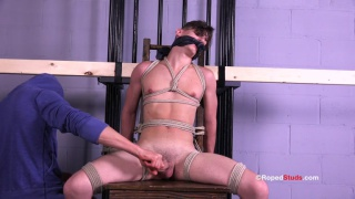 beautiful boy tied to chair pumps out huge cum load