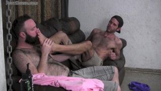 foot lover buster worships guy's big feet