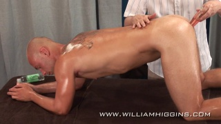 Jirka Buzek gets dildo fucking on massage table