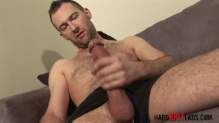 brit jerks his 9-inch cock
