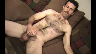 hairy man Steve jacks his dick