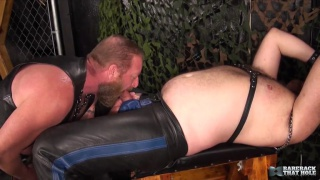 leather playroom fuck with Allen Fulton and Dawlton Hawg