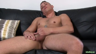 handsome recruit Aston Springs jacks his dick