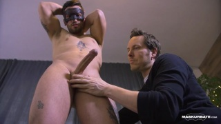 straight hunk Dominic gets a hand with his hard-on